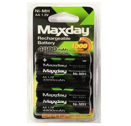 pilas aa recargables de 4800 mah maxday 4 unidades
