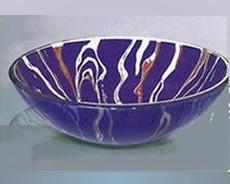 pileta bacha baño de vidrio redonda violeta decorada 50635