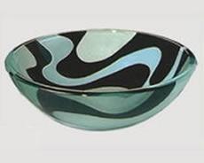 pileta bacha de vidrio decorada con ondas baño 50638