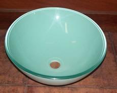 pileta bacha de vidrio verde milk sobreponer para baño 51079