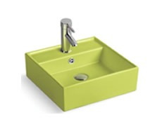 pileta bacha para baño de loza cuadrada verde manzana 51316