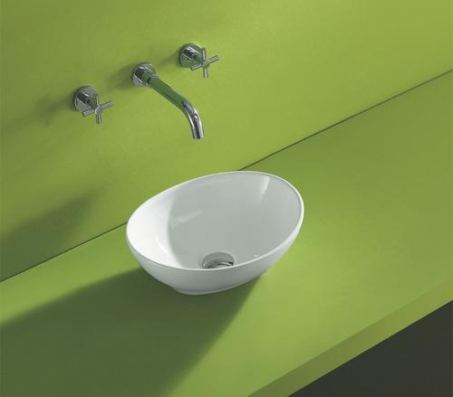 pileta baño bacha de apoyo oval 40x33x14 cerámicas castro