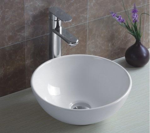 pileta baño bacha de apoyo redonda 32x14 cerámicas castro