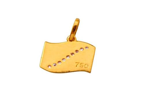 pingente ouro 18k medalha mergulho 9 brilhantes + frete 2464