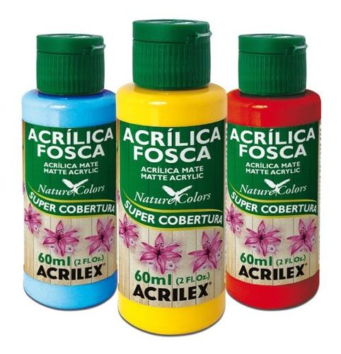 pintura acrílica mate acrilex 60ml paleta 1 violeta - mosca