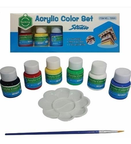 pintura en frasco acrilico x 6 en caja 25 ml