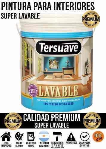 pintura para interior 1 litro super lavable anti hongos mf