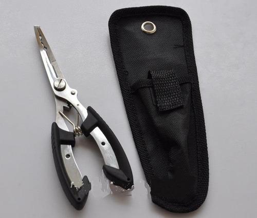 pinza p/pesca acero inox. saca anzuelo, corta tanza, 16 cm