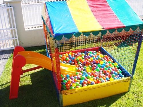 piscina de bolinha completa 1,50x1,50 c/ escorregador médio