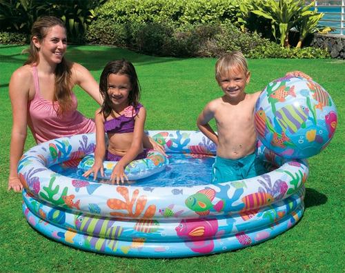 piscina de tres aros + pelota y salvavidas para niños- intex