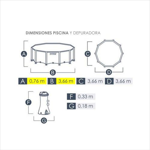 piscina intex 6500l prisma compra 366 x 76 bomba y filtro