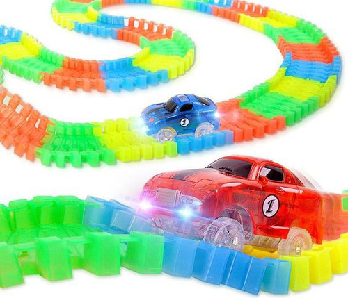 pista magic tracks flexible 2 autos + 7.2mts pista + squishy