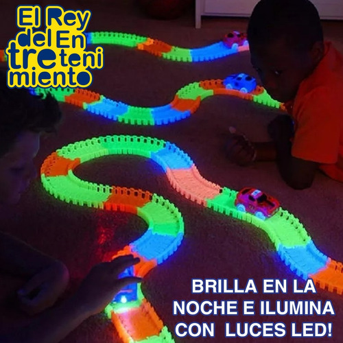 pista magic tracks flexible 360pcs + autos + regalo! el rey