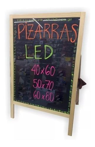 pizarra led mágica con soporte madera 50x70 cm