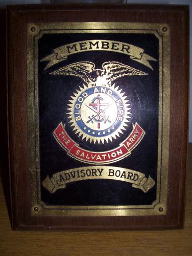 placa americana de miembro del ejercito de salvaciòn