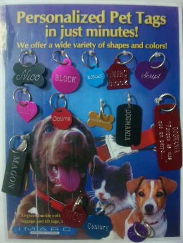 placa grabada de identificación a colores para perro y gato