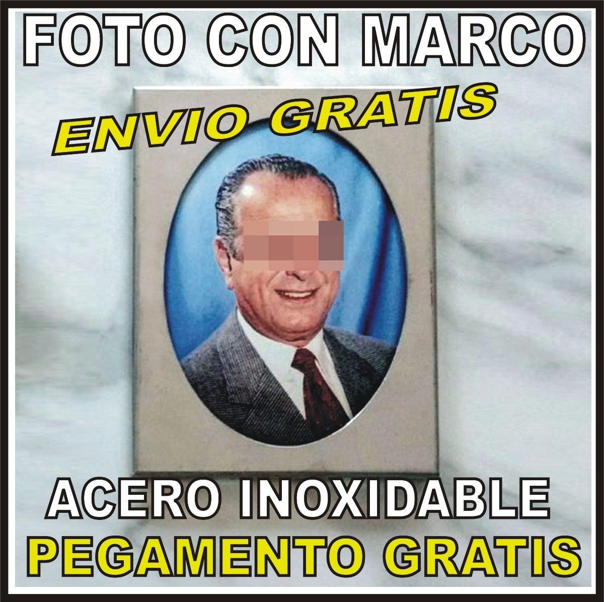 Placa Recordatoria Cementerio Foto 9x12 Con Marco Acero Inox ...