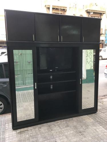placard ropero madera para tv 2,15  - composse equipamientos
