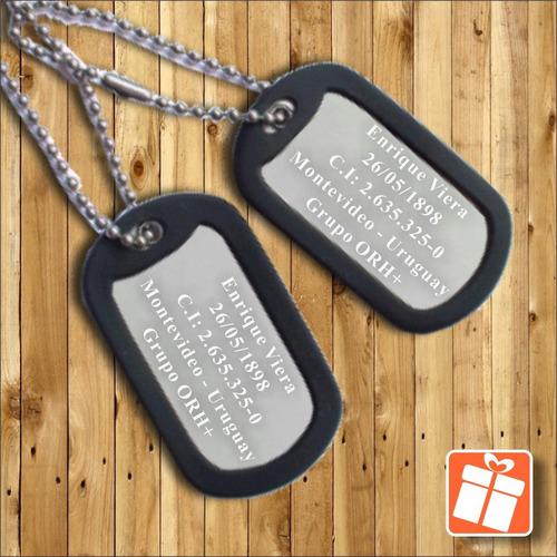 placas militares en acero quirurgico