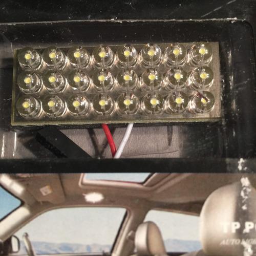 plaqueta 25 leds-12v luz techo baul  auto c/ adap. p/ tubox1