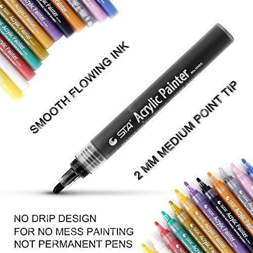 pluma de marcadores de pintura acrílica, 12 colores plumas d