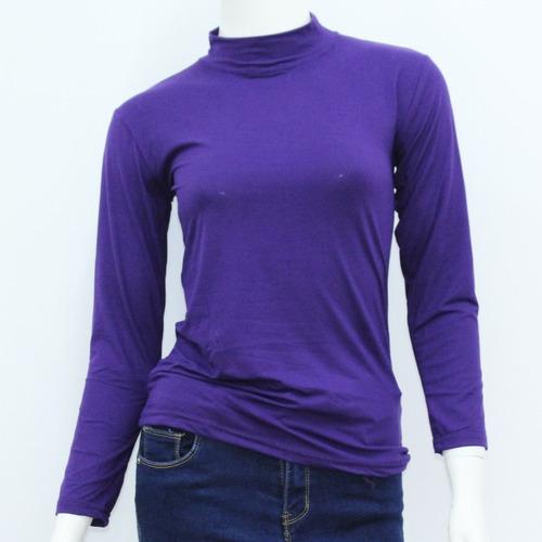 polera dama con felpa violeta lisa - todo útil