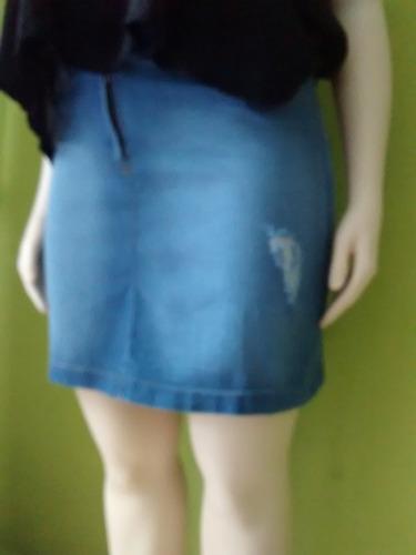 pollera de jean con roturas talles grandes
