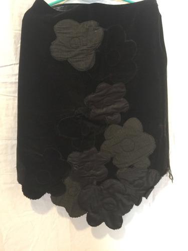 pollera negra de diseño marca kill talle l flor bordada