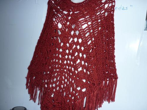 ponchos crochetvarios colores y modelos en lana mecha