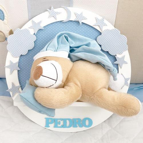 porta maternidade urso dormindo menino azul com nome