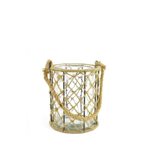portavelas vidrio cilindrico con red de cuerda 15 x 19 cm al