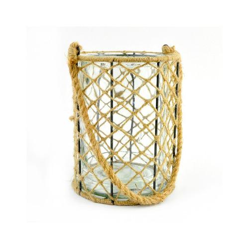 portavelas vidrio cilindrico con red de cuerda 17 x 23 cm al