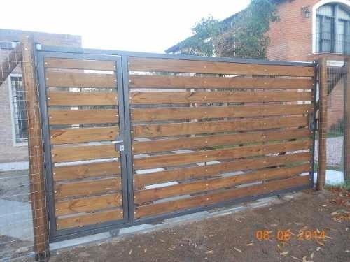 portones corredizos y cerramiento de hierro y madera $ 1300