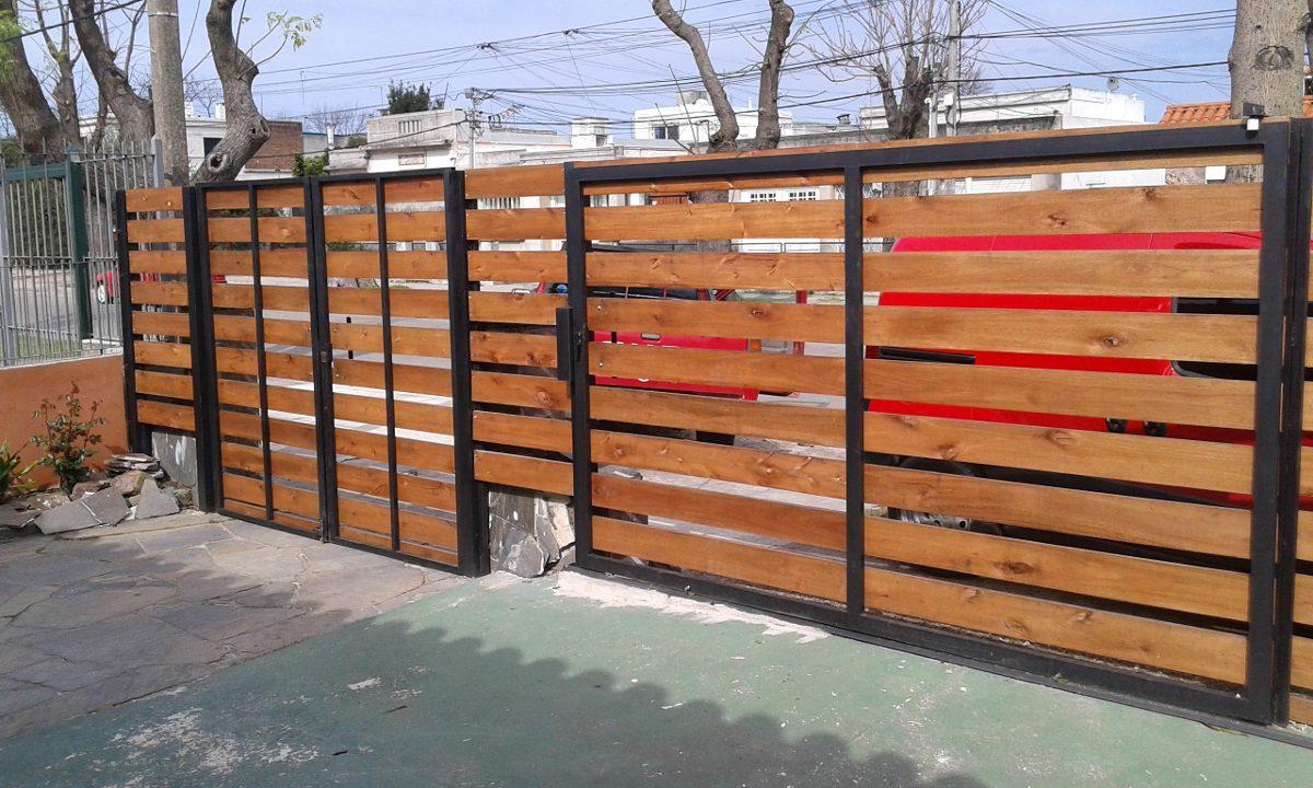 Portones en madera y hierro en mercado libre for Portones de madera modernos