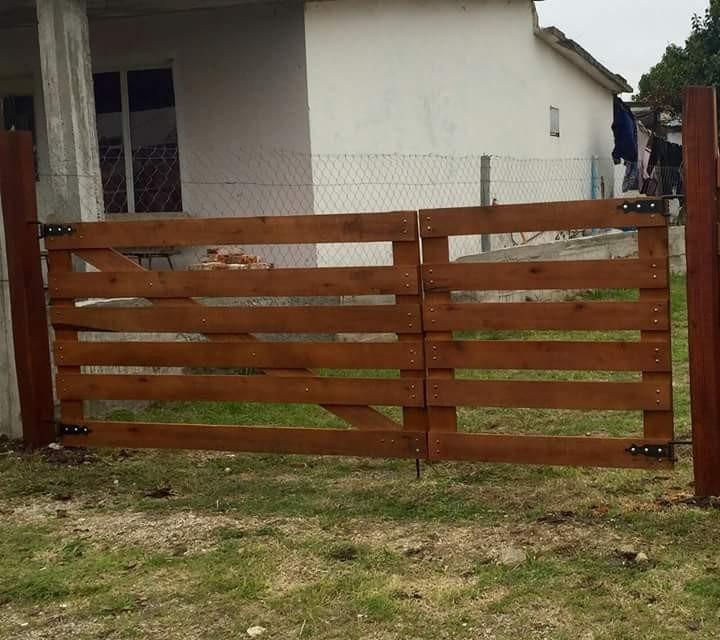 Portones madera r sticos en mercado libre for Puertas de ingreso de madera