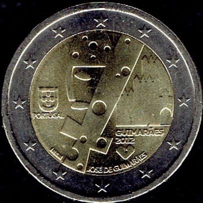 portugal, 2 euros conmemorativos año 2012 josé de guimaraes