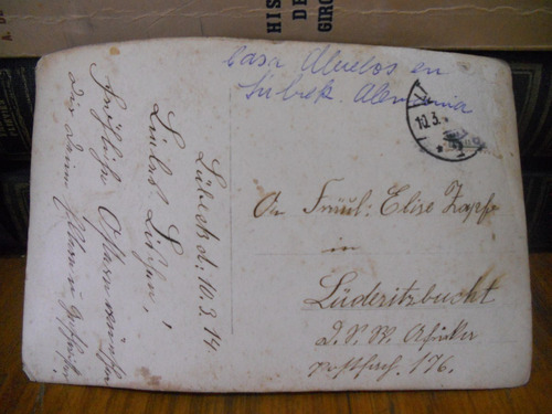 postal antigua alemana luderitz bucht año 1914