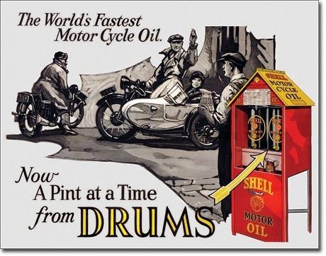 poster metalico vintage retro aceite shell para motocicleta