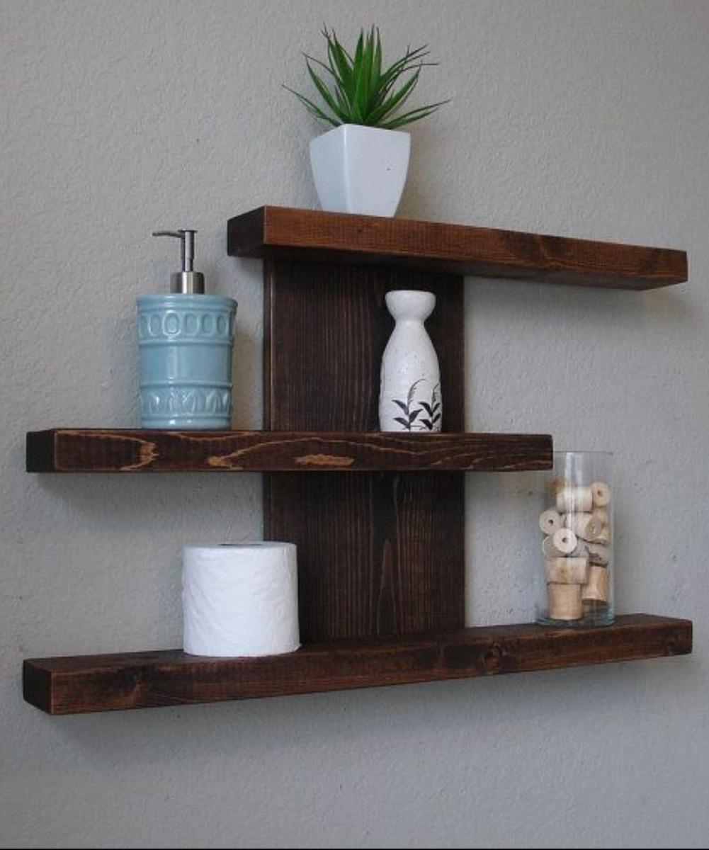 Preciosa repisa estanteria estante ba o living madera - Madera para estantes ...