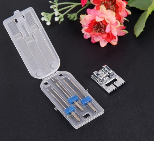 prensatela máquina coser para alforzas con 3 agujas dobles