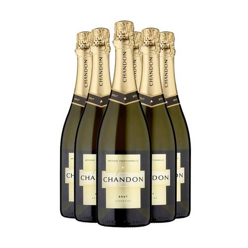 promo champaña chandon brut 750ml x 6 unidades por funda