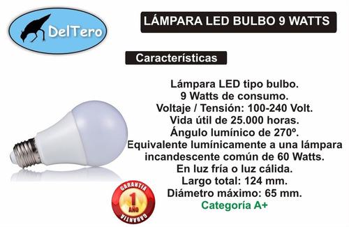 promo - lámparas led 9 watts 1 año garantía x 5 unidades