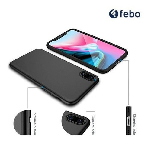 protector full 360 + vidrio templado iphone x 10 febo