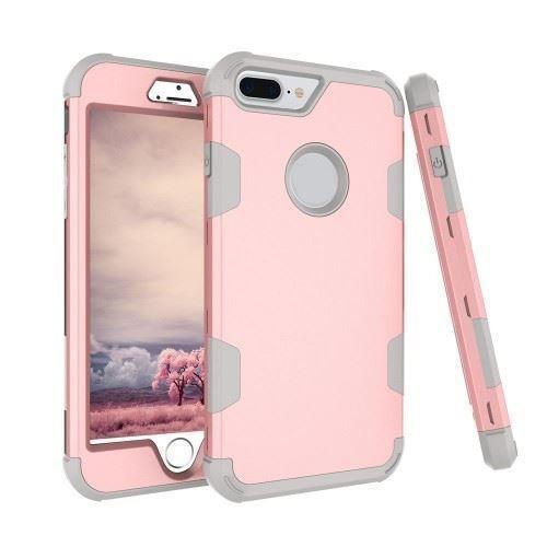 protector funda iphone xr robot reforzado rosado y gris