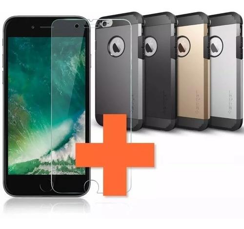 protector spigen armor iphone 8 7 6 plus + vidrio templado ®