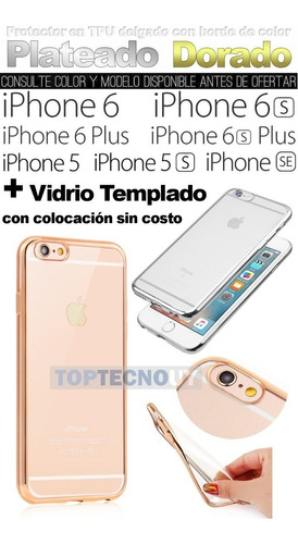 protector vidrio + tpu metalizado iphone 8 7 6s 5 5s se plus