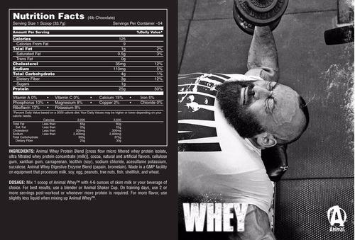 proteína whey protein animal 4 lb - masa muscular