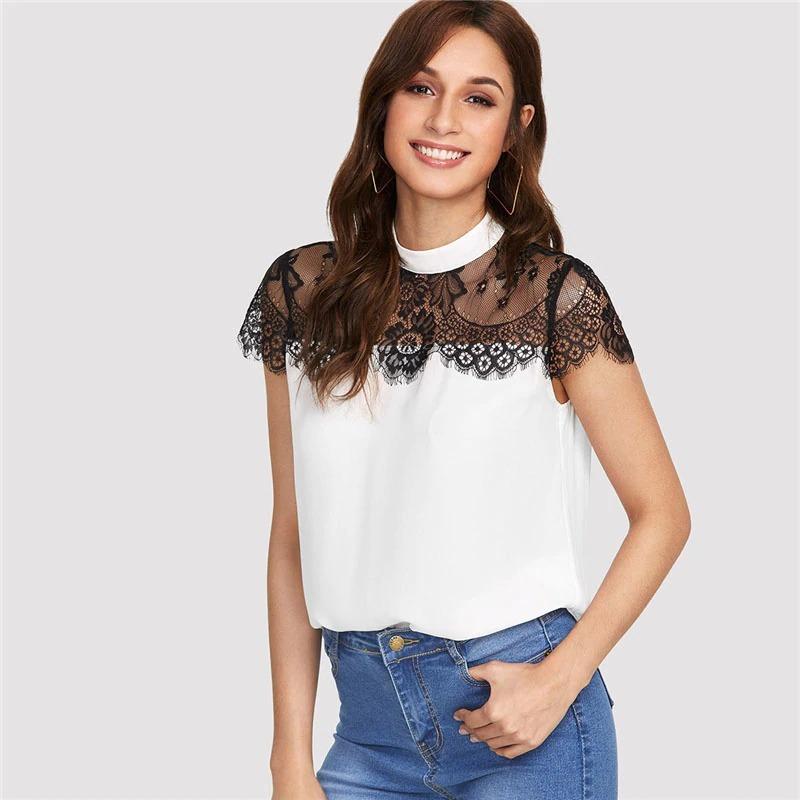 c54e0638b Próximamente Blusas Camisas Casual Encaje Shein Por Reserva! -   850 ...