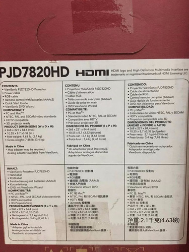 proyector viewsonic pjd7820hd hdmi + soporte