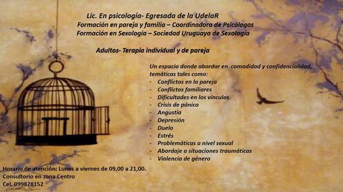 psicóloga, adultos y parejas. primer consulta adul s/ costo.